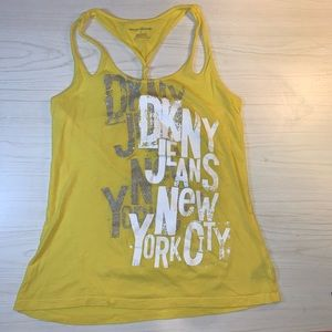 DKNY bright yellow graphic tank top, cross-back